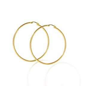 10k Yellow Gold Plain Round Hoop Earrings 44mm diameter 2mm thick