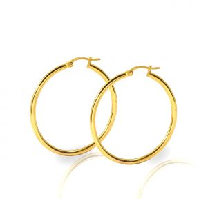 10k Yellow Gold Plain Round Hoop Earrings 33mm diameter 2mm thick
