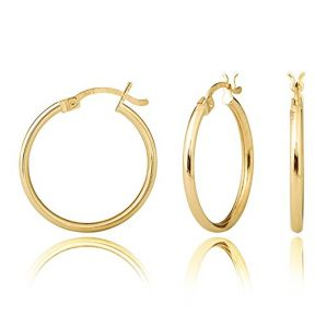 10k Yellow Gold Plain Round Hoop Earrings 29mm diameter 2mm thick