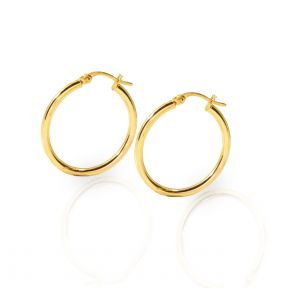 10k Yellow Gold Plain Round Hoop Earrings 23mm diameter 2mm thick