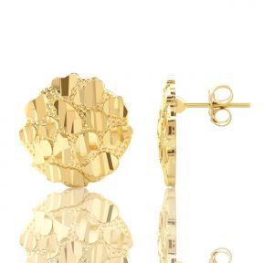 """10k Yellow Gold Round Nugget Stud Earrings (.60"""")"""