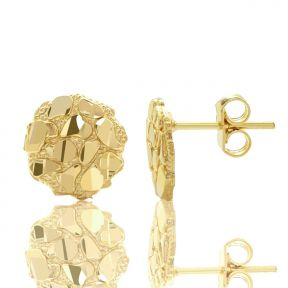 "10k Yellow Gold Round Nugget Stud Earrings (.40"")"