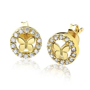 "10K Yellow Gold Butterfly Circle Outline Stud Earrings with 14 CZ (0.28"" x 0.28"")"
