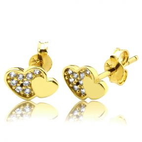 "10K Yellow Gold Double Hearts Shape Stud Earrings with 8 CZ (0.31"" x 0.20"")"