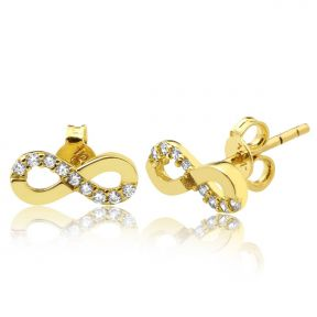 "10K Yellow Gold Infinity Shape Stud Earrings with 9 CZ (0.39"" x 0.16"")"