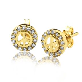 "10K Yellow Gold Peace Sign Circle Outline Stud Earrings with 14 CZ (0.26"" x 0.26"")"