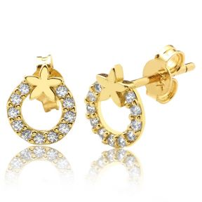 "10K Yellow Gold Starfish Circle Shape Outline Stud Earrings with 11 CZ (0.26"" x 0.31"")"