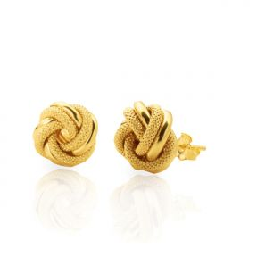 """10k Yellow Gold Round Love Knot Stud Earrings (0.2 x 0.2"""")"""