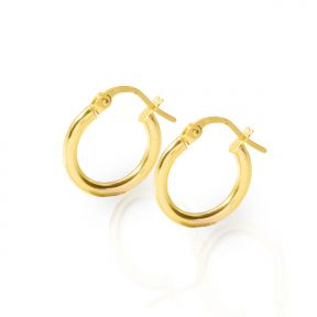 10k Yellow Gold Plain Round Hoop Earrings 13mm diameter 2mm thick