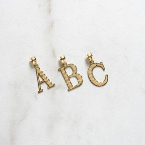 10K Large Yellow Gold Diamond Cut A to Z Alphabet Initial Letter Pendant