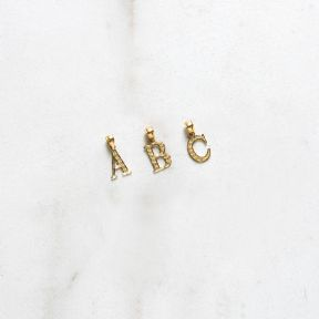 10K Small Yellow Gold Diamond Cut A to Z Alphabet Initial Letter Pendant