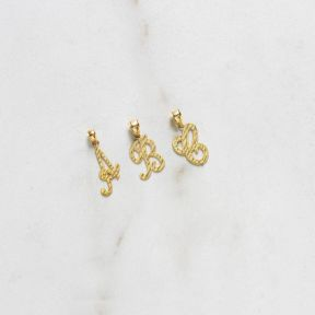 10K Yellow Gold Medium Diamond Cut Cursive Initial Pendant Charm