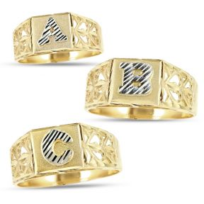 10K Yellow Gold Diamond Cut Ladies Alphabet Initial Ring, Block Lettering
