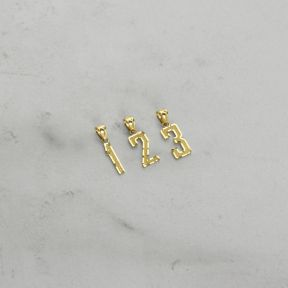 10K Yellow Gold Jersey Number Digit Charm Necklace Pendant (Small Size)