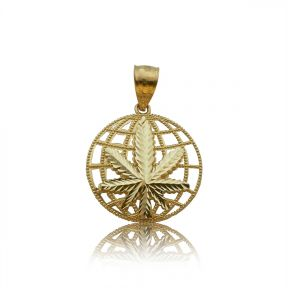 "10k Yellow Gold Diamond-Cut Marijuana World Charm Pendant (1.15"" x 0.81"")"