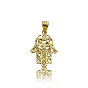 "10k Yellow Gold Six-Pointed Star Hamsa Hand Pendant (1.07"" x 0.60"")"