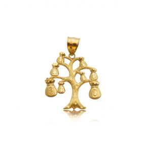 "10k Yellow Gold Money Bag Tree Charm (1.40"" x 1.10"")"