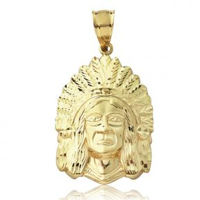 """10K Yellow Gold Native American Indian Chief Head (1.50"""" x 0.82"""")"""