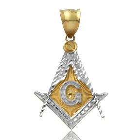 "10K Yellow Gold Freemason Charm Pendant (1.55"" x 0.90"")"