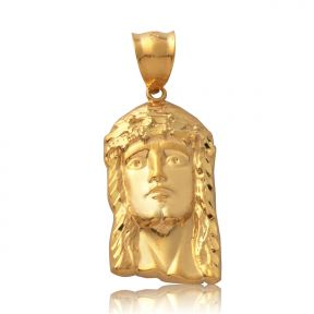 "10K Yellow Gold High Polished Jesus Head Charm Pendant (1.57"" x 0.73"")"