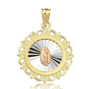 "10K Yellow Gold Mother Mary Of Guadalupe Medallion Charm Pendant (1.16"" x 0.84"")"