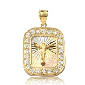 "10K Yellow Gold Tri Color Jesus Cross Medallion Charm Pendent with 23 CZ Stones (1.36"" x 0.84)"