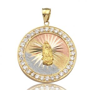 "10K Yellow Gold Tri Color Virgin Mother Mary Medallion Pendant with CZ (1.66"" x 1.27"")"