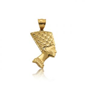 "10K Yellow Gold High Polished Nefertiti Charm Pendant (1.55"" x 0.75"")"