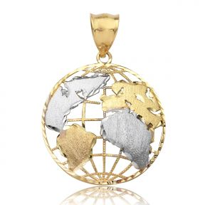 "10K Yellow Gold Two Toned World Map Globe Charm Necklace Pendant (1.40"" x 1.10"")"