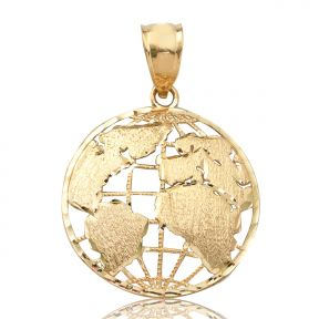 "10K Yellow Gold World Map Globe Charm Pendant (1.25"" x 0.90"")"