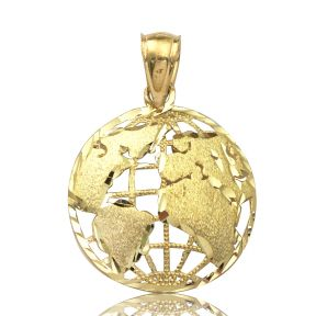 10K Yellow Gold World Map Globe Charm Pendant
