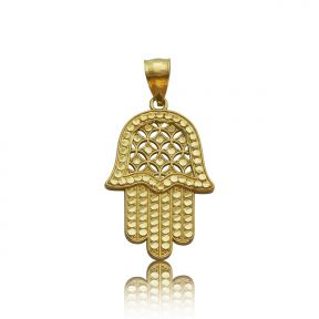 "10k Yellow Gold Diamond-Cut Hamsa Hand Pendant (1.43"" x 0.74"")"