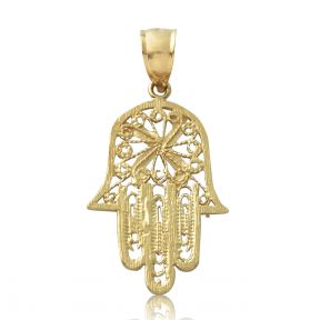 "10K Yellow Gold Hamsa Hand Diamond Cut Charm Pendant (1.40"" x 0.69"")"