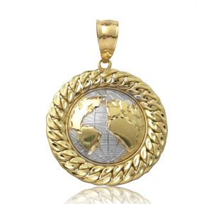 "10K Yellow Gold Two-Tone World Map Globe Charm Pendant w/ Cuban Link Border (1.87"" x 1.34"")"