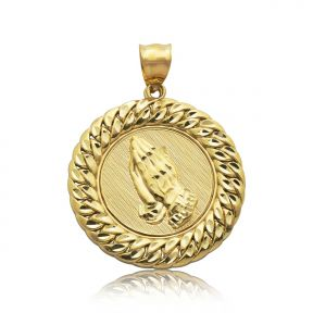 "10k Yellow Gold Praying Hands Medallion with Cuban Link Border Charm Pendant (1.87"" x 1.32"")"