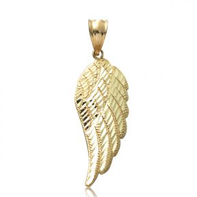 Lovebling 10k yellow gold angel wing charm for chain necklace