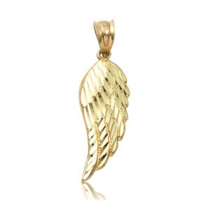 "10K Yellow Gold Diamond Cut Angel Wing Pendant Charm (1.20"" x 0.40"")"