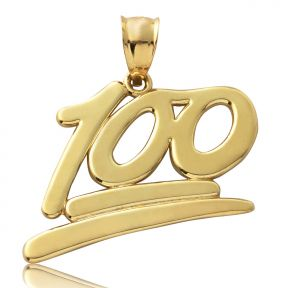 "10K Yellow Gold High Polish ""100"" Hunnid Emoji Charm Pendant (1.36"" x 1.25"")"