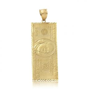 "10K Yellow Gold Hundred Dollar Bill, Benjamin Franklin, Back to Back Charm Pendant (2.60"" x 0.85"")"