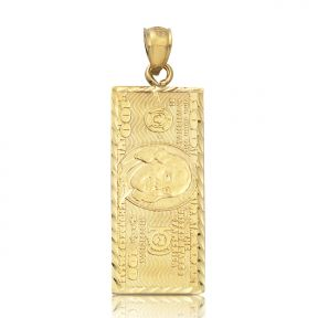 "10K Yellow Gold Hundred Dollar Bill, Benjamin Franklin, Back to Back Charm Pendant (1.50"" x 0.50"")"
