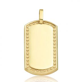 10k yellow gold dog tag charm pendant for chain necklace