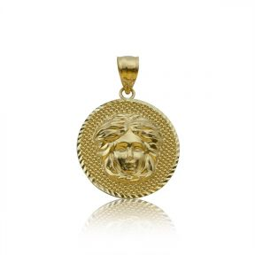 "10k Yellow Gold Medusa Head w/ Diamond-Cut Border Medallion (1.23"" x 0.85"")"