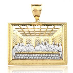 "10K Yellow Gold Two Tone The Last Supper Charm Pendant (1.76"" x 1.73"")"