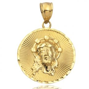 "10K Yellow Gold Jesus Head Medallion Charm Pendant (1.26"" x 0.83"")"