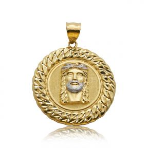 "10k Yellow Gold Jesus Head Medallion with Cuban Link Border Charm Pendant (1.79"" x 1.31"")"