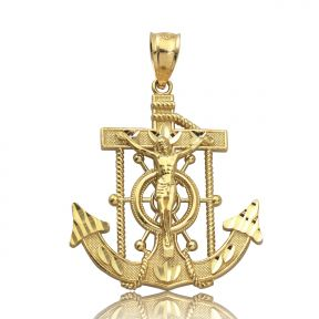 "10K Yellow Gold Diamond Cut Jesus Cross/Anchor (1.50"" x 1.00"" )"