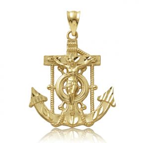 "10K Yellow Gold Diamond Cut Jesus Cross/Anchor (1.25"" x 0.90"" )"