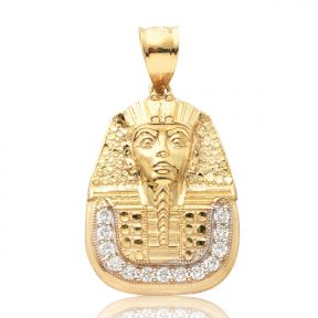 "10k Yellow Gold Pharaoh King Tut Head with 13cz Pendant ( 1.35"" x 0.75"" )"
