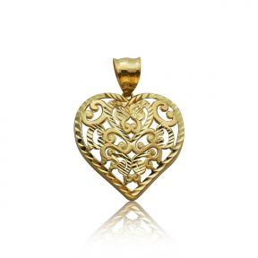 "10k Yellow Gold Fancy Diamond-Cut Heart Pendant (1.31"" x 0.98"")"