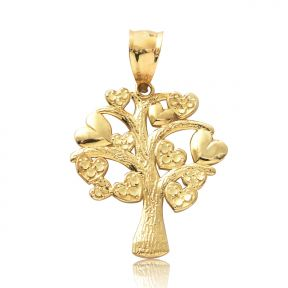 "10k Yellow Gold Tree Heart Pendant (1.3"" x 0.85"" )"